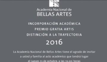 Incorporación Académica - Premio Gratia Artis - Distinción a la Trayectoria