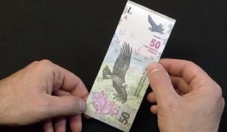 El Banco Central presentó el nuevo billete de 50 pesos, con el cóndor andino y el Aconcagua