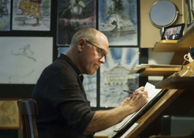 Glen Keane working at his animation desk | Image by Monica Hervey, 2017.