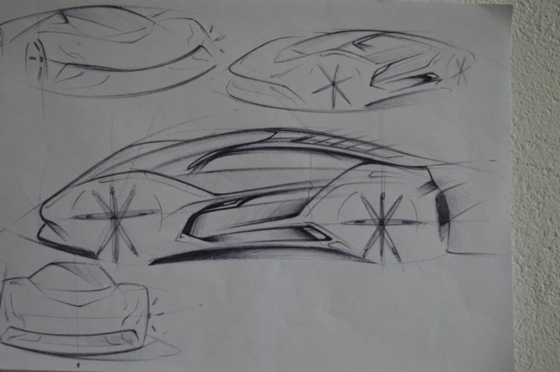 Dibujo a lápiz prototipo Bertone obsequiado por División Craetive Lab para Dopler Agencia de Noticias de Diseño