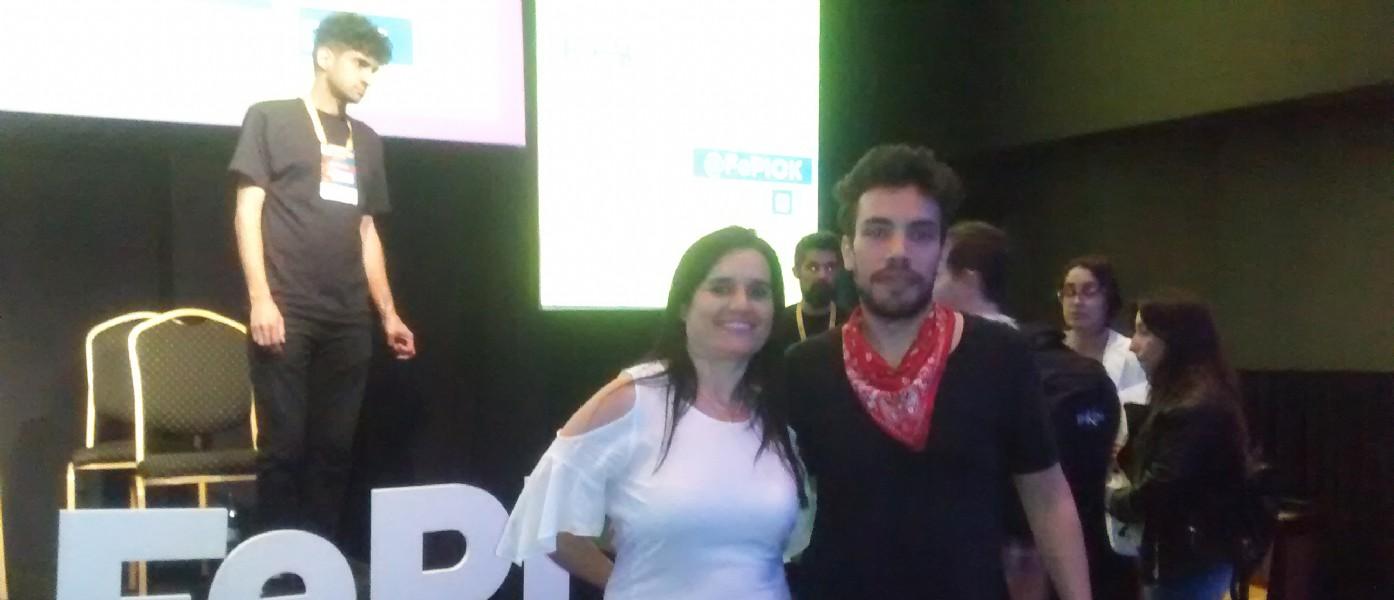 Mariela Lopazzo Directora de Dopler Agencia de Noticias de Diseño con Sebastián Duccoli  Director Creativo y docente especializado en Creatividad Digital