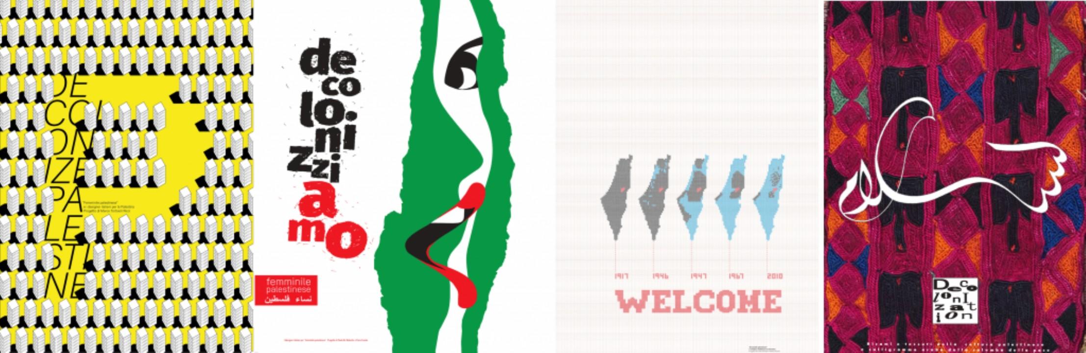 Algunos de los carteles de la exposición: de izquierda a derecha, obras de Marco Tortoioli Ricci, Paolo De Robertis, Cinzia y Monica Ferrara, Geppi De Liso y Lilli Chimienti