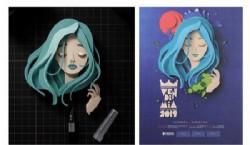 Imágen plagiada y afiche de la Vendimia