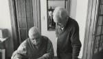 """Encuentro Juan Carlos Distéfano y Rubén Fontana, en la entrevista en tiempo presente de Zalma Jalluf para el libro """"Historias Gráfica del Di Tella"""", en octubre de 2016."""
